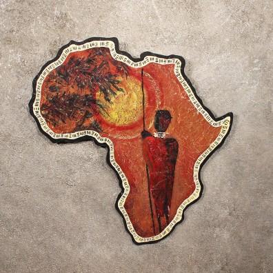 Original African Plaque Painting Native Sunset <> Decor