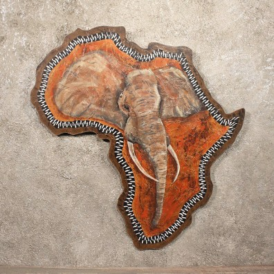 Original African Plaque Painting of an African Elephant