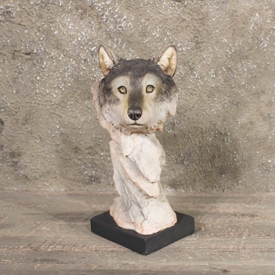 Pedestal Wolf Statue Figurine #11329 - The Taxidermy Store