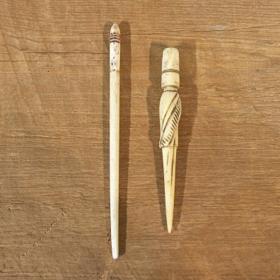 Authentic Native Carved Ivory Hors D'oeuvre Spear Set #12105 For Sale @ The Taxidermy Store