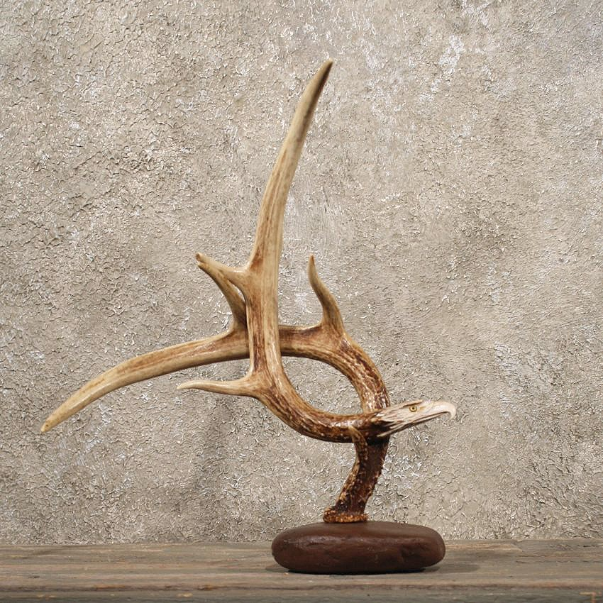 Eagle head carving on a whitetail antler decor for sale for Antlers decoration