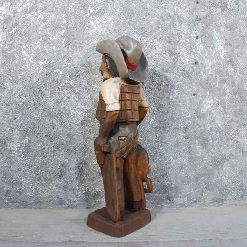 Wooden cowboy carving for sale the taxidermy store