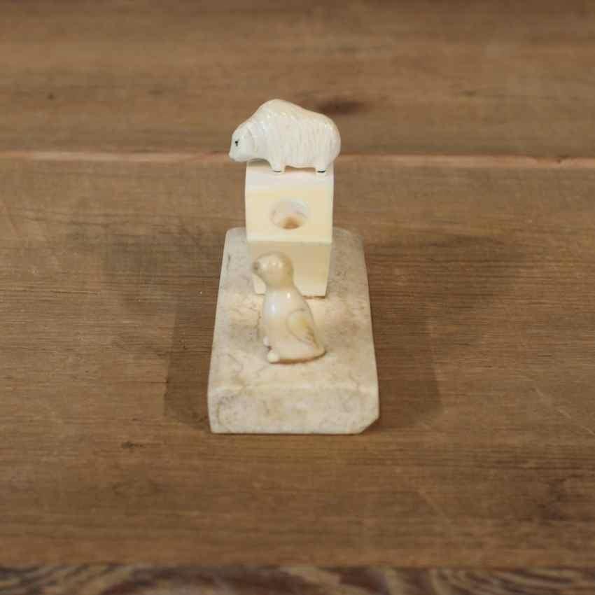 Native carved ivory pen holder for sale the