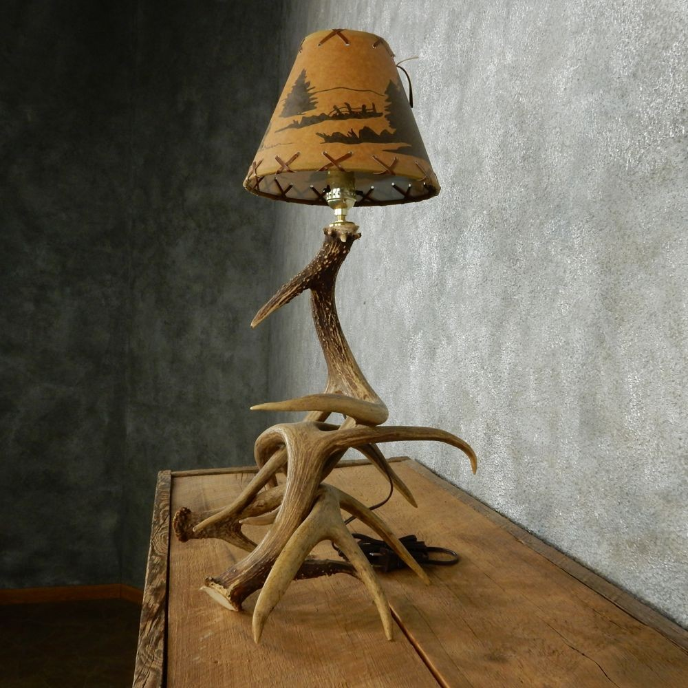 deer antler lamp with custom wildlife shade 12567 for sale the