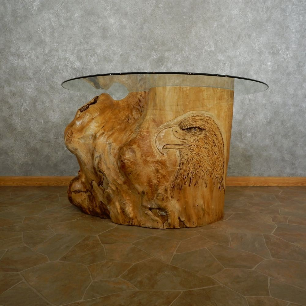Carved eagle tree trunk table for sale the
