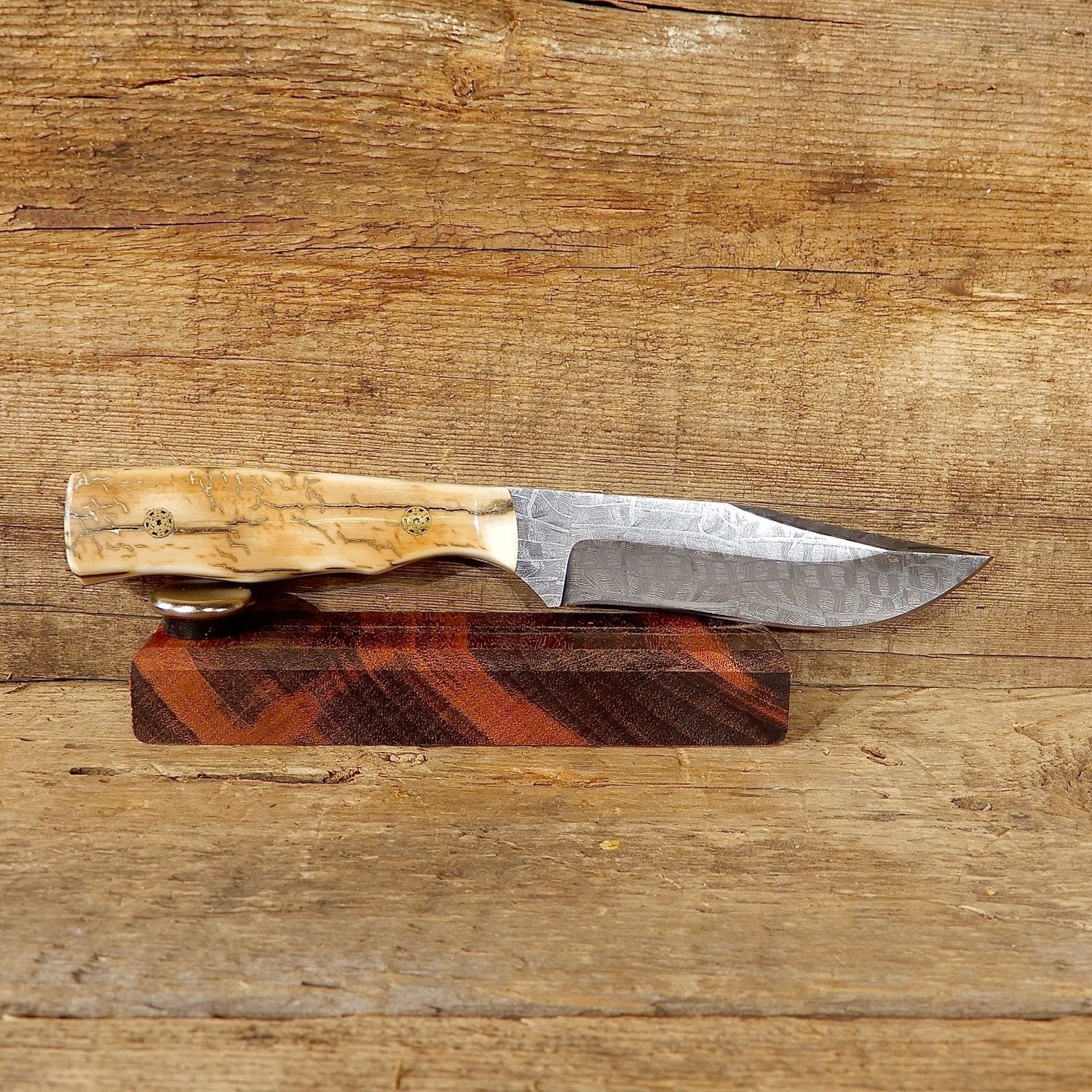 Custom Damascus Hunting Knife with Mammoth Tusk Handle For Sale