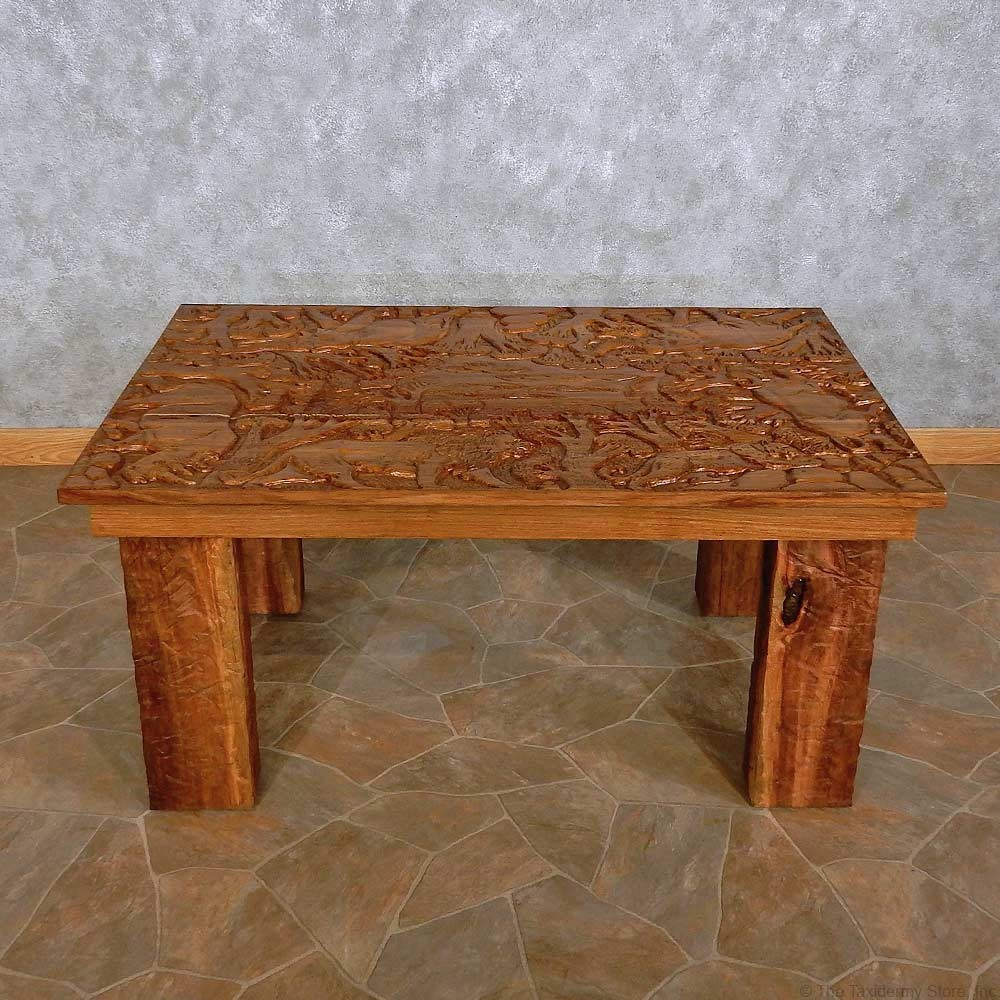 Carved wood table for sale the taxidermy store