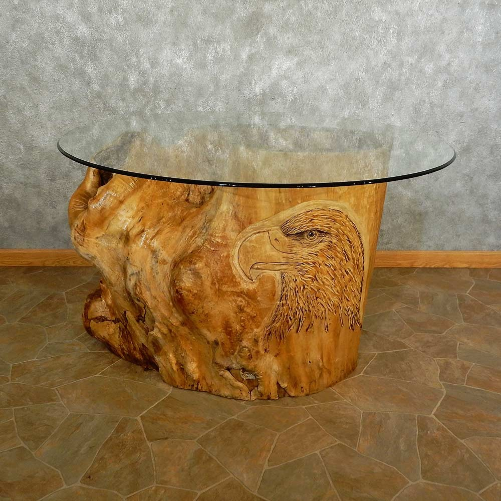 Carved Eagle Tree Trunk Table For Sale #16891