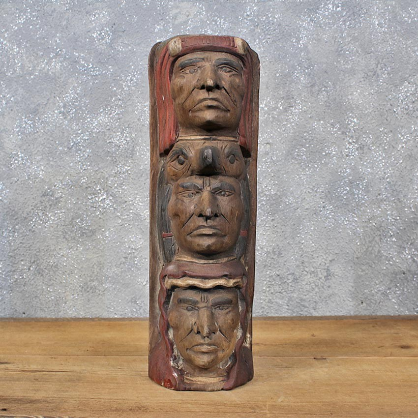 Wood Carved Totem Pole Figure For Sale
