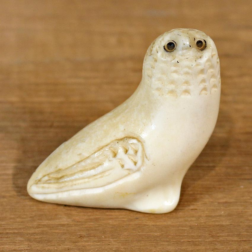 Native Ivory Owl Figurine 12080 The Taxidermy Store