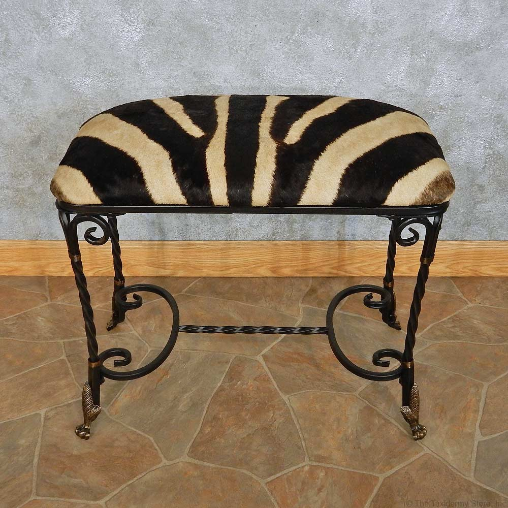 Sensational African Zebra Hide Vanity Bench For Sale Machost Co Dining Chair Design Ideas Machostcouk