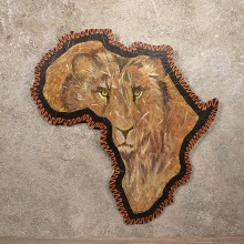 Original African Plaque Painting Savannah Lion