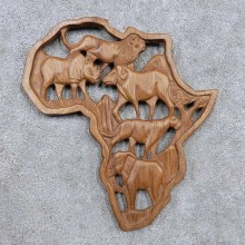 African Safari Plaque Carving For Sale #15665 @ The Taxidermy Store