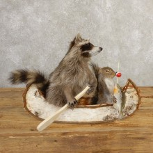 Canoeing Raccoon And Fishing Squirrel Novelty Mount For Sale #20747 @ The Taxidermy Store