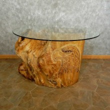 Carved Eagle Tree Trunk Table For Sale #16891 @ The Taxidermy Store