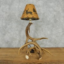 Deer Antler Lamp with Custom Wildlife Shade #12567 For Sale @ The Taxidermy Store
