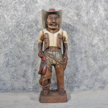 Carved Wooden Cowboy Statue #11625 - For Sale @ The Taxidermy Store