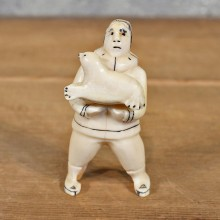 Native Ivory Eskimo & Seal Figurine #12083 For Sale @ The Taxidermy Store