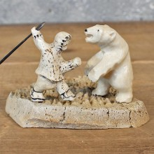 Authentic Native Ivory Eskimo & Polar Bear Figurine #12097 For Sale @ The Taxidermy Store
