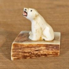 Native Ivory Polar Bear Figurine #12082 For Sale @ The Taxidermy Store