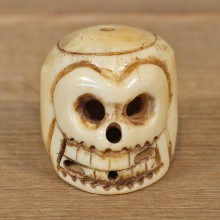 Authentic Native Ivory Carved Skull Figurine #12092 For Sale @ The Taxidermy Store