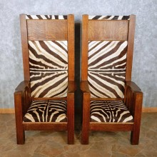African Zebra Skin Bishop Chairs For Sale #15028 @ The Taxidermy Store