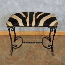 Zebra Hide Vanity Bench For Sale #15108 @ The Taxidermy Store