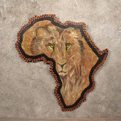 Original African Plaque Painting Savannah Lion