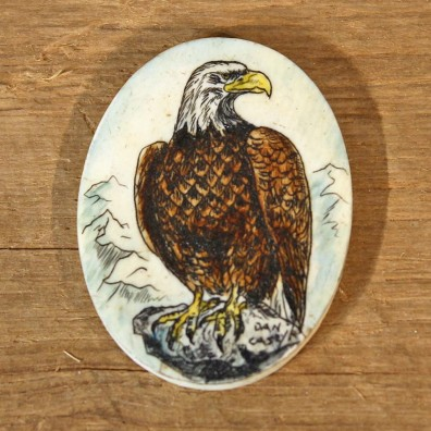 Authentic Native Carved Ivory Eagle Medallion #12094 For Sale @ The Taxidermy Store