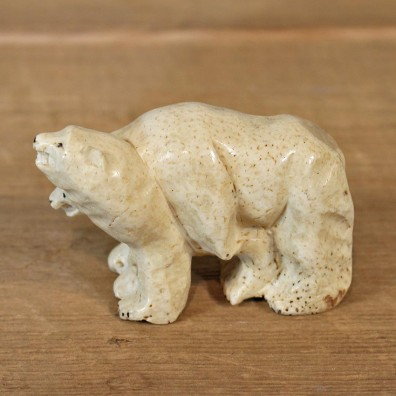 Native Ivory Polar Bear Figurine #12076 For Sale @ The Taxidermy Store