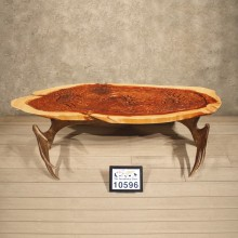 Carved Cedar & Moose Horn Table
