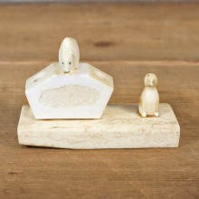 Native Carved Ivory Polar Bear & Puffiin Pen Holder #12077 For Sale @ The Taxidermy Store